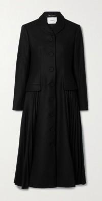 Calla pleated wool-blend coat