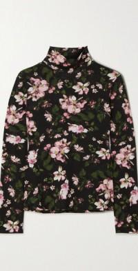Kelly floral-print cotton-jersey turtleneck top