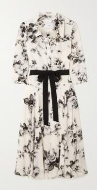 Margot belted floral-print crepe midi dress