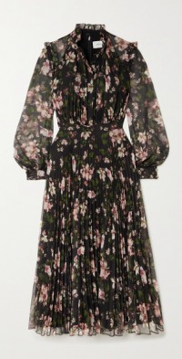Narella pleated floral-print voile midi dress