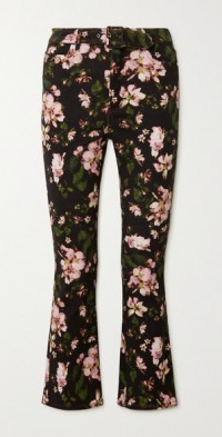 Vina cropped belted floral-print high-rise flared jeans
