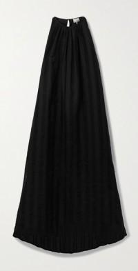 + NET SUSTAIN Bastia asymmetric striped linen-jacquard dress