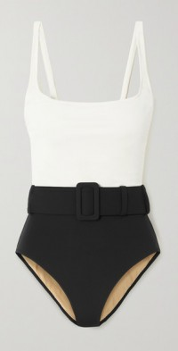 + NET SUSTAIN Cassandra belted two-tone stretch-ECONYL swimsuit