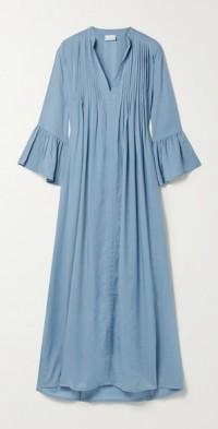 + NET SUSTAIN Katia pintucked Swiss-dot TENCEL Lyocell maxi dress