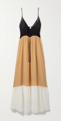+ NET SUSTAIN Love tie-detailed color-block silk crepe de chine maxi dress