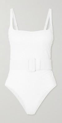 Cassandra belted seersucker swimsuit