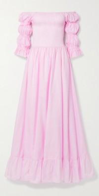 Lora off-the-shoulder fil coupé cotton and silk-blend maxi dress