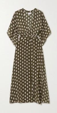 Modica printed silk crepe de chine wrap dress
