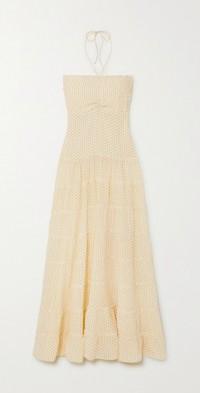 Phoebe tiered printed silk crepe de chine halterneck maxi dress