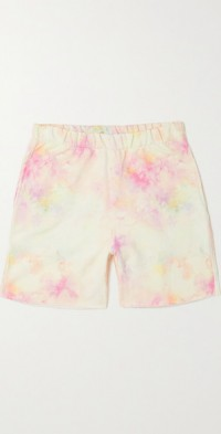 Abigail frayed tie-dyed organic cotton-jersey shorts