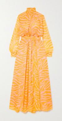 Charlotte zebra-print voile maxi dress