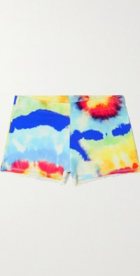 Lizzy frayed tie-dyed organic cotton-jersey shorts