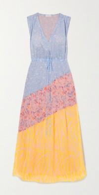 Natalia paneled printed voile maxi dress