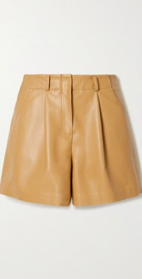 Manon pleated faux leather shorts