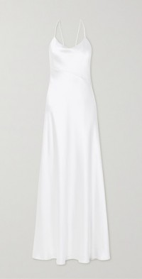 Spetses open-back silk-satin gown