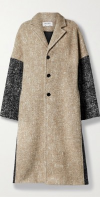 Teeske oversized color-block padded wool-blend coat