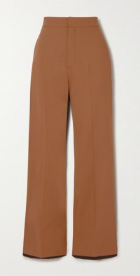 Tilla two-tone wool-blend and twill wide-leg pants
