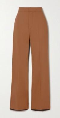 Tilla wool-blend and twill wide-leg pants