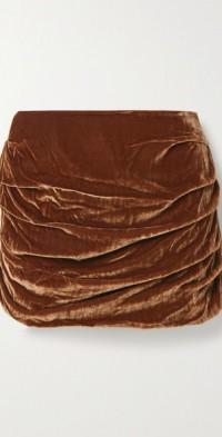 Ruched velvet mini skirt