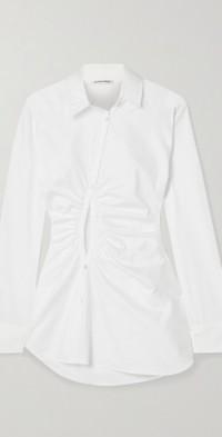 Universe cutout gathered cotton-poplin shirt