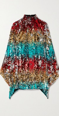Asymmetric sequined satin mini dress
