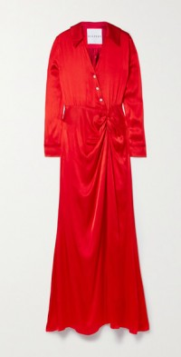 Crystal-embellished draped satin maxi dress