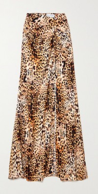 Gathered leopard-print satin maxi skirt