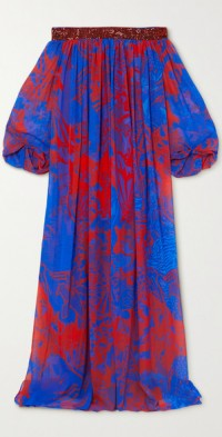 Off-the-shoulder sequin-embellished printed georgette maxi dress