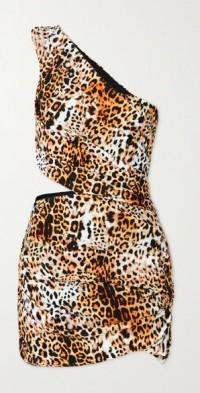 One-shoulder cutout leopard-print stretch-jersey mini dress