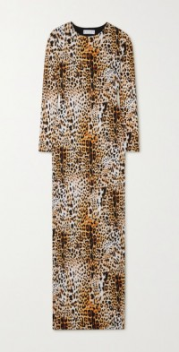 Open-back leopard-print stretch-jersey maxi dress