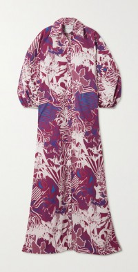 Oversized printed cotton-poplin maxi shirt dress