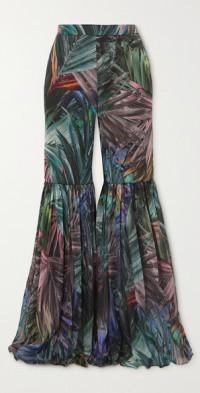 Pleated metallic printed chiffon flared pants