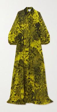 Printed chiffon maxi shirt dress