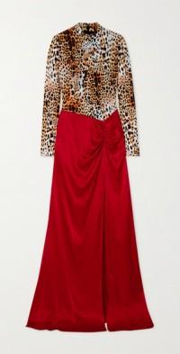 Stretch & Flow leopard-print stretch-jersey and satin maxi dress