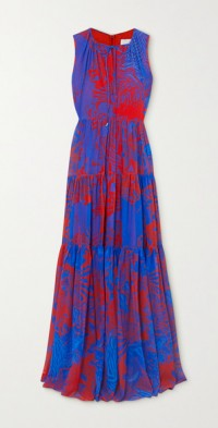 Tiered printed georgette maxi dress
