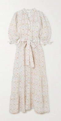 + NET SUSTAIN Camellia belted floral-print linen maxi dress