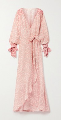 + NET SUSTAIN Luna floral-print silk-habotai wrap maxi dress