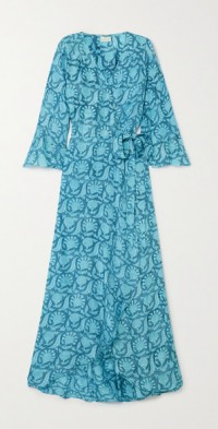 + NET SUSTAIN Luna printed silk wrap maxi dress