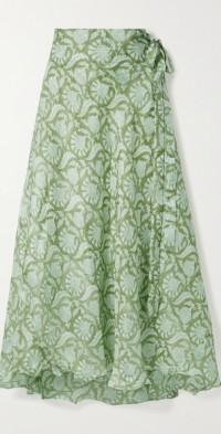 + NET SUSTAIN Maya printed silk wrap maxi skirt