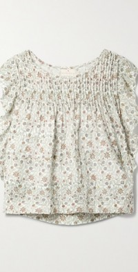 + NET SUSTAIN Narooma pintucked floral-print cotton-gauze top