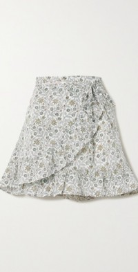 + NET SUSTAIN Senna floral-print linen wrap mini skirt