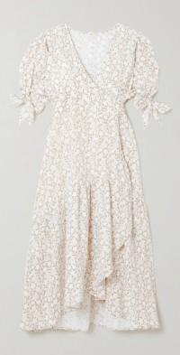 + NET SUSTAIN Yulara floral-print cotton-gauze wrap midi dress