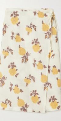 + NET SUSTAIN Romeo floral-jacquard wrap skirt
