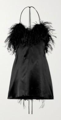 Asymmetric feathered-trimmed stretch-silk satin mini dress