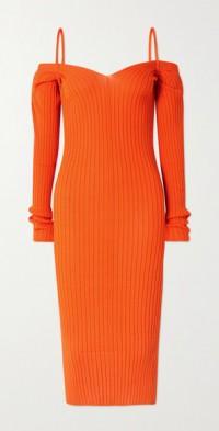 Billowy cold-shoulder ribbed-knit midi dress