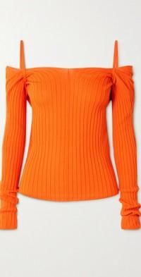 Billowy cold-shoulder twist-back ribbed-knit top
