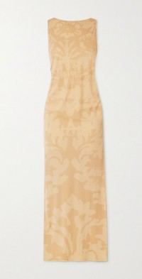 Carrie ruched printed stretch-jersey maxi dress