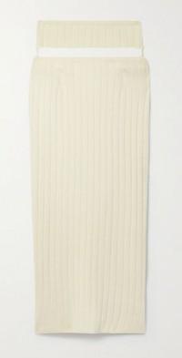 Cutout ribbed merino wool-blend midi skirt