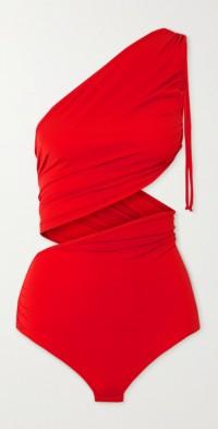 Cutout stretch-jersey wrap bodysuit