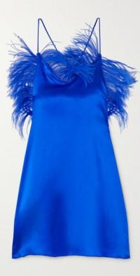 Feather-embellished silk-blend satin mini dress